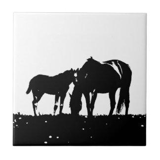 Black & White Horses Silhouette Tile