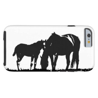 Black White Horses Silhouette Tough iPhone 6 Case