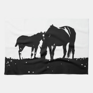 Black & White Horses Silhouette Towel