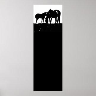 Black White Horses Silhouettes Pop Art Poster