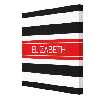 Black White Horz Preppy Stripe Red Name Monogram Canvas Print