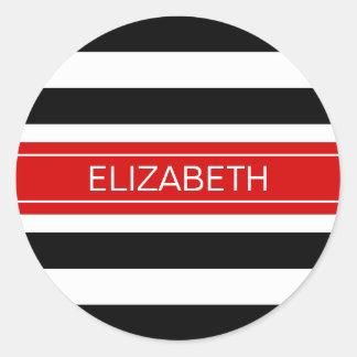 Black White Horz Preppy Stripe Red Name Monogram Classic Round Sticker