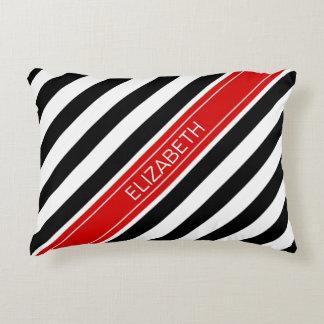 Black White Horz Preppy Stripe Red Name Monogram Accent Pillow