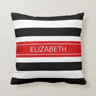 Black White Horz Preppy Stripe Red Name Monogram Throw Pillow