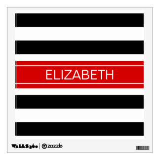 Black White Horz Preppy Stripe Red Name Monogram Wall Sticker