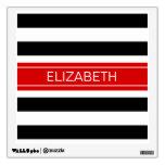 Black White Horz Preppy Stripe Red Name Monogram Room Graphics
