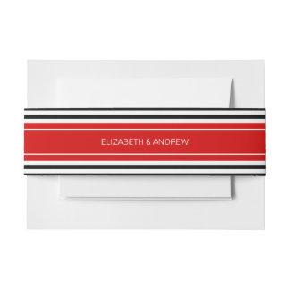 Black White Horz Preppy Stripe Red Name Monogram Invitation Belly Band