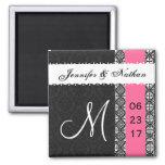 Black White Hot Pink Damask Lace Wedding Magnet