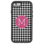 Black White Hot Pink Houndstooth Pattern Monogram iPhone 6 Case