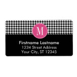 Black White Hot Pink Houndstooth Pattern Monogram Shipping Label