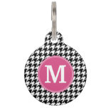 Black White Hot Pink Houndstooth Pattern Monogram Pet ID Tag