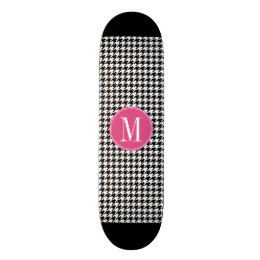 Black White Hot Pink Houndstooth Pattern Monogram Skateboard Deck