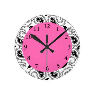 Black, White, Hot Pink Paisley Pattern Round Clocks