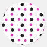 Black/White & Hot Pink Polka Dots Stickers
