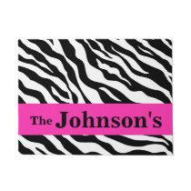 Black White Hot Pink Zebra Skin Name Personalized Doormat