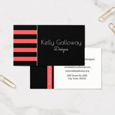 Beach Themed Black & White, Hot Red Stripe Business Card