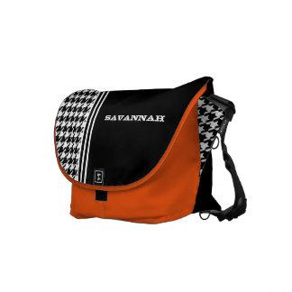Black & White Hounds Tooth Racing Stripe Messenger Messenger Bag