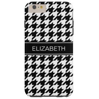 Black White Houndstooth #2 Black Name Monogram Tough iPhone 6 Plus Case
