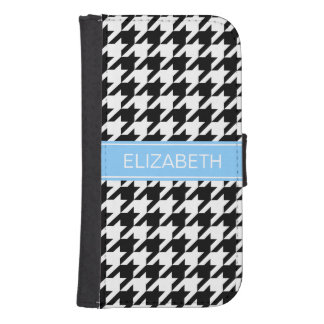 Black White Houndstooth #2 Sky Blue Name Monogram Phone Wallet Cases