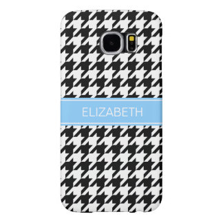 Black White Houndstooth #2 Sky Blue Name Monogram Samsung Galaxy S6 Cases
