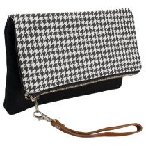 Black/White Houndstooth Clutch
