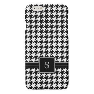 Black White Houndstooth Custom Monogram Initial Glossy iPhone 6 Case