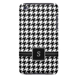 Black White Houndstooth Custom Monogram Initials Barely There iPod Case