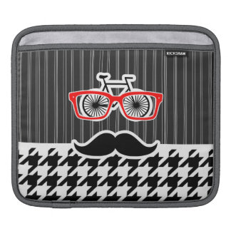 Black & White Houndstooth; Hipster iPad Sleeves