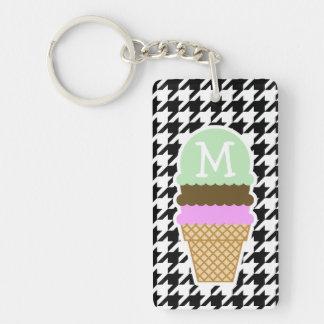 Black & White Houndstooth; Ice Cream Cone Keychain