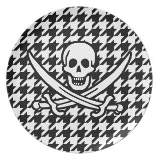 Black & White Houndstooth Jolly Roger Party Plate