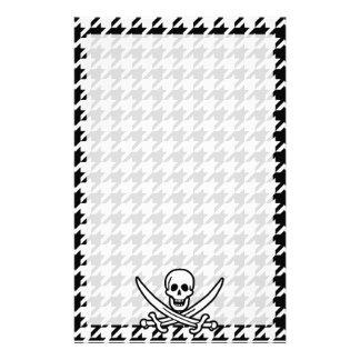 Black White Houndstooth Jolly Roger Stationery