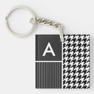 Black & White Houndstooth Keychains