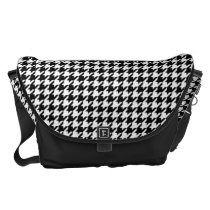 Black/White Houndstooth Messenger Bag