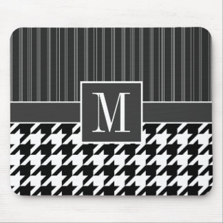Black White Houndstooth Mousepads