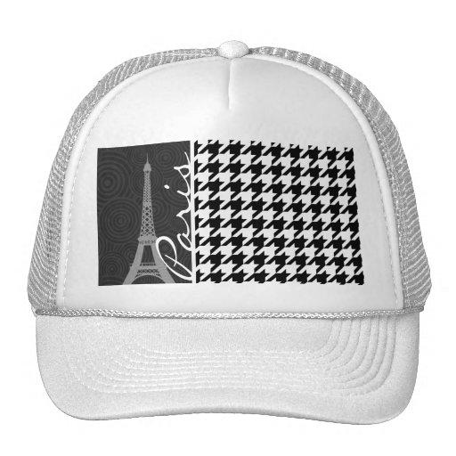 Black & White Houndstooth; Paris Mesh Hat