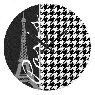 Black & White Houndstooth; Paris Large Clock