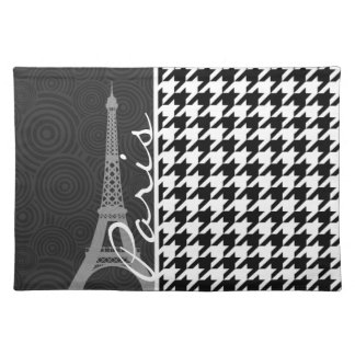 Black & White Houndstooth; Paris Placemat