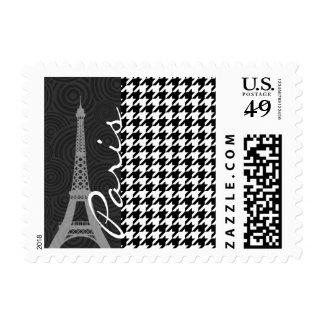 Black & White Houndstooth; Paris Postage