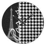 Black & White Houndstooth; Paris Wall Clocks