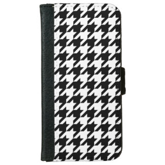Black White Houndstooth Pattern #2 iPhone 6/6s Wallet Case