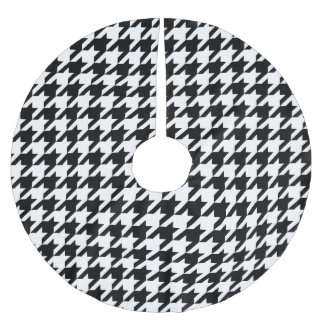Black & White Houndstooth Pattern Brushed Polyester Tree Skirt