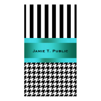 Black & White Houndstooth Pattern Business Card Templates
