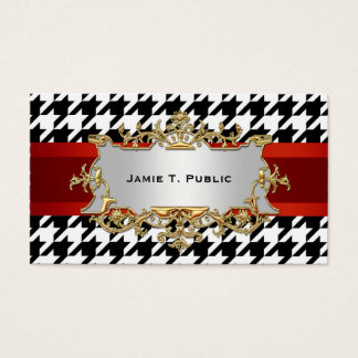 Black & White Houndstooth Pattern Business Card