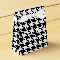 Black white houndstooth pattern custom wedding favor box