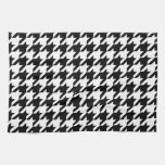 Black & White Houndstooth Pattern Hand Towel