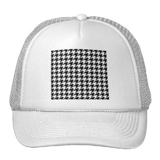 Black & White Houndstooth Pattern Mesh Hat