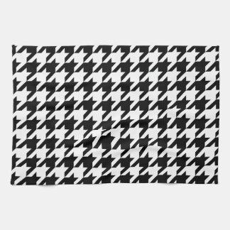 Black & White Houndstooth Pattern Kitchen Towel