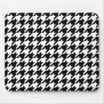 Black & White Houndstooth Pattern Mouse Pads