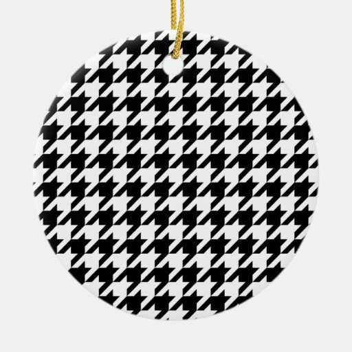 Black & White Houndstooth Pattern Christmas Ornament