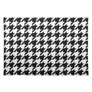 Black & White Houndstooth Pattern Placemat at Zazzle